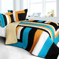 Drive Till Dawn 3PC Vermicelli - Quilted Patchwork Quilt Set (Full/Queen Size) - My Bed Covers - 1