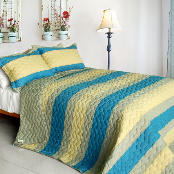 Endless Horizon 3PC Vermicelli-Quilted Patchwork Quilt Set (Full/Queen Size) - My Bed Covers - 1