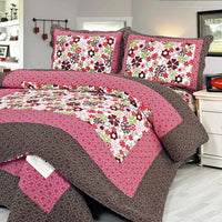 Eranthe Cotton 3PC Floral Vermicelli-Quilted Printed Quilt Set (Full/Queen Size) - My Bed Covers - 1