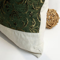 Exquisite Emerald Linen Patch Work Pillow Cushion | My Bed Covers