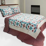 Falling Snow 3PC Cotton Vermicelli-Quilted Printed Quilt Set (Full/Queen Size) - My Bed Covers - 1