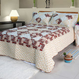 Fantasy Flowers Cotton 2PC Floral Vermicelli-Quilted Patchwork Quilt Set (Twin Size) - My Bed Covers - 1
