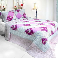 Floral Print 3PC Cotton Vermicelli-Quilted Printed Quilt Set (Full/Queen Size) - My Bed Covers - 1