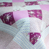 Floral Print 3PC Cotton Vermicelli-Quilted Printed Quilt Set (Full/Queen Size) - My Bed Covers - 4