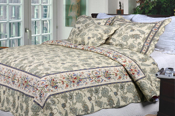 Florence 100% Cotton 3PC Classic Floral Vermicelli-Quilted Quilt Set (King Size) - My Bed Covers - 1