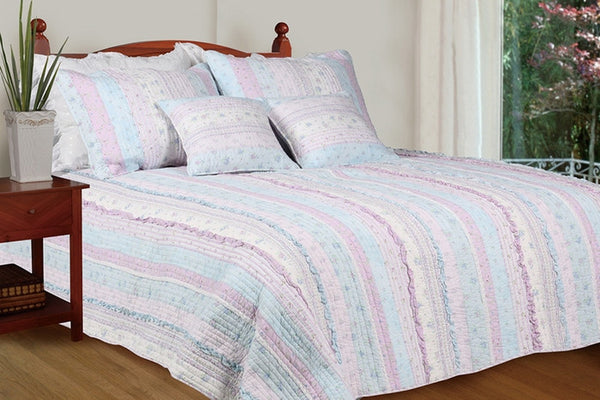 Flowering Season - Lilac 100% Cotton 2PC Classic Floral Vermicelli-Quilted Quilt Set (Twin Size) - My Bed Covers - 1