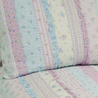 Flowering Season - Lilac 100% Cotton 2PC Classic Floral Vermicelli-Quilted Quilt Set (Twin Size) - My Bed Covers - 4