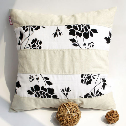 Flowing Flowers Linen Patch Work Pillow Cushion - My Bed Covers