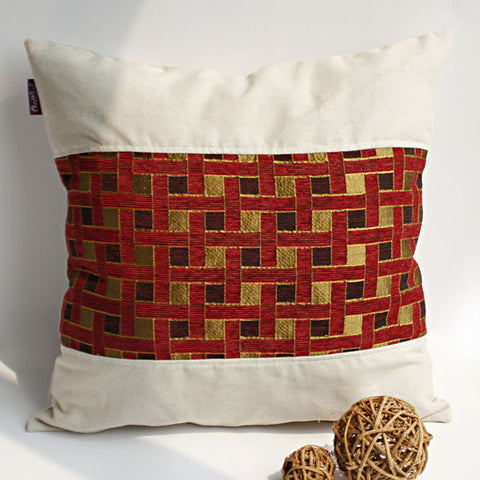 Folk Music Linen Stylish Patch Work Pillow Cushion - My Bed Covers - 1