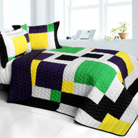 Football Field 3PC Vermicelli - Quilted Patchwork Quilt Set (Full/Queen Size) - My Bed Covers - 1