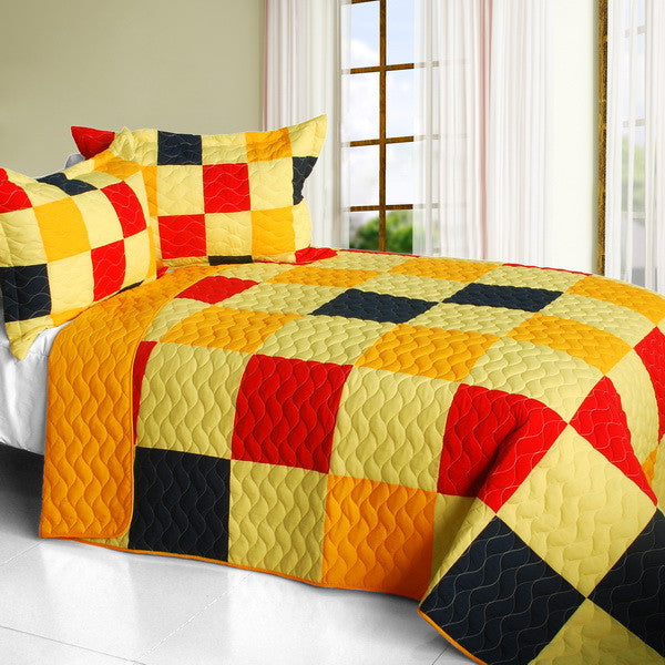 Football Glory 3PC Vermicelli-Quilted Patchwork Quilt Set (Full/Queen Size) - My Bed Covers - 1