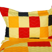 Football Glory 3PC Vermicelli-Quilted Patchwork Quilt Set (Full/Queen Size) - My Bed Covers - 2