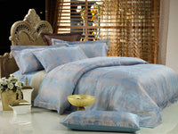 Fountain Blue Jacquard Luxury 6PC Duvet Cover Set (King Size) | My Bed Covers
