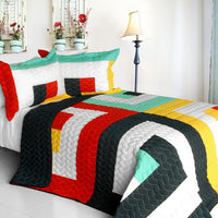 Franceschi Vermicelli-Quilted Patchwork Geometric Quilt Set (Full/Queen Size) - My Bed Covers - 1