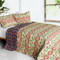 Glitter 3PC Cotton Vermicelli-Quilted Printed Quilt Set (Full/Queen Size) | My Bed Covers