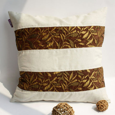Gold Autumn Linen Stylish Patch Work Pillow Cushion - My Bed Covers