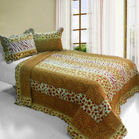 Golden Time Cotton 3PC Vermicelli-Quilted Printed Quilt Set (Full/Queen Size) - My Bed Covers - 1