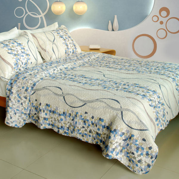Good Times Cotton 3PC Vermicelli-Quilted Printed Quilt Set (Full/Queen Size) | My Bed Covers