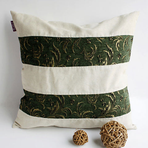 Green Lake Linen Stylish Patch Work Pillow Cushion - My Bed Covers - 1