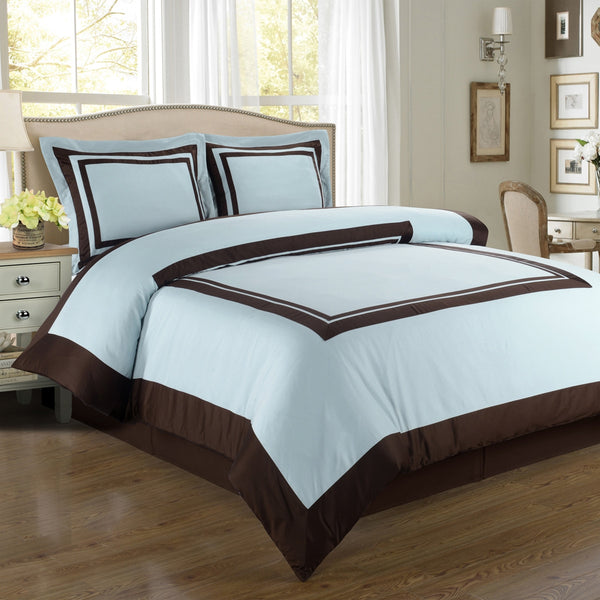 100% Egyptian Cotton Hotel Duvet Cover Set - Blue And Chocolate (Twin Size) | My Bed Covers