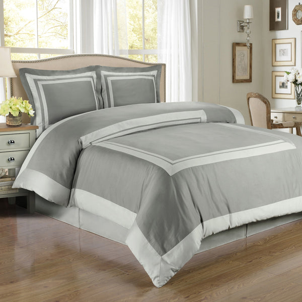 100% Egyptian Cotton Hotel Duvet Cover Set - Gray And Light Gray (King Size) | My Bed Covers