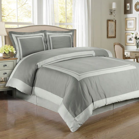 100% Egyptian Cotton Hotel Duvet Cover Set - Gray And Light Gray (King Size) - My Bed Covers