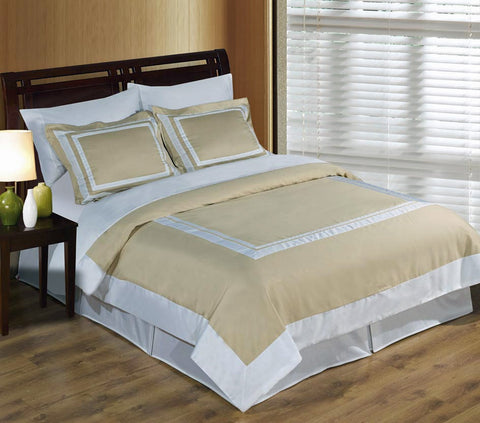 100% Egyptian Cotton Hotel Duvet Cover Set - Linen And White (Full/Queen Size) - My Bed Covers