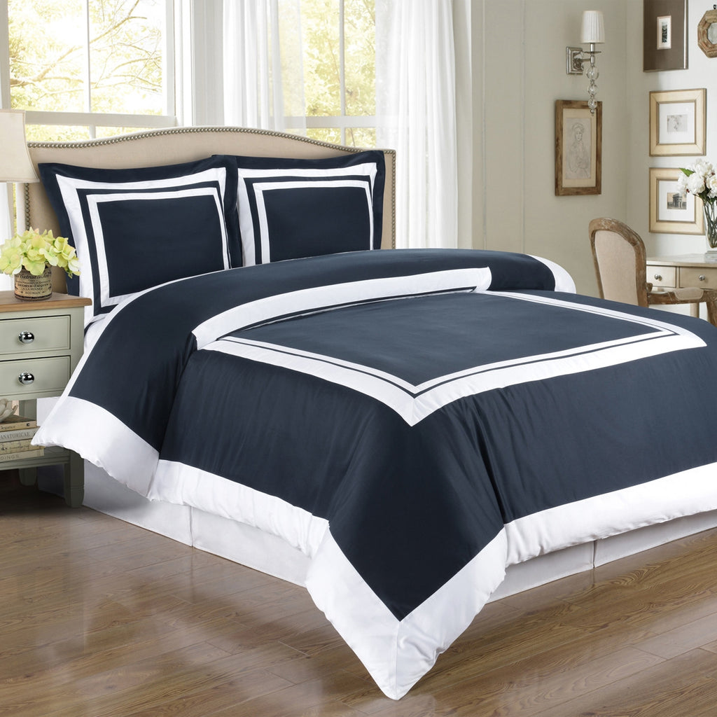 100% Egyptian Cotton Hotel Duvet Cover Set - Navy And White (Full/Queen Size) - My Bed Covers