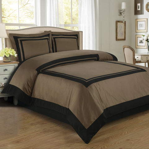 100% Egyptian Cotton Hotel Duvet Cover Set - Taupe And Black (Full/Queen Size) - My Bed Covers