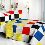 Hodgepodge Vermicelli-Quilted Patchwork Plaid Quilt Set (Full/Queen Size) - My Bed Covers - 1