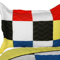 Hodgepodge Vermicelli-Quilted Patchwork Plaid Quilt Set (Full/Queen Size) - My Bed Covers - 2