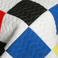 Hodgepodge Vermicelli-Quilted Patchwork Plaid Quilt Set (Full/Queen Size) - My Bed Covers - 4