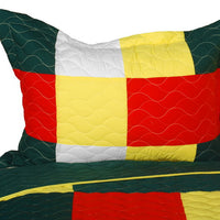 Ixora Chinensis Vermicelli-Quilted Patchwork Plaid  Quilt Set (Full/Queen Size) - My Bed Covers - 2