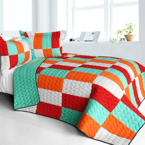 Kaleidoscope 3PC Vermicelli - Quilted Patchwork  Quilt Set (Full/Queen Size) - My Bed Covers - 1