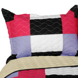 Kamelia Vermicelli-Quilted Patchwork Geometric  Quilt Set (Full/Queen Size) - My Bed Covers - 2