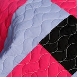 Kamelia Vermicelli-Quilted Patchwork Geometric  Quilt Set (Full/Queen Size) - My Bed Covers - 4