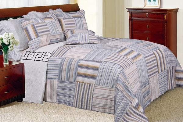 Kevin 100% Cotton 3PC Vermicelli-Quilted Striped Patchwork Quilt Set (King Size) - My Bed Covers - 1