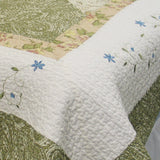 Laura 100% Cotton 3PC Floral Vermicelli-Quilted Embroidered Patchwork Quilt Set (King Size) - My Bed Covers - 2