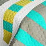 Lollipops - B Vermicelli-Quilted Patchwork Geometric Quilt Set (Full/Queen Size) - My Bed Covers - 4