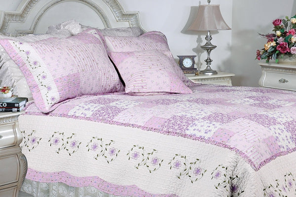 Love Of Lilac 100% Cotton 3PC Floral Vermicelli-Quilted Embroidered Patchwork Quilt Set (King Size) - My Bed Covers - 1