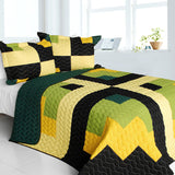 Lucky Break 3PC Vermicelli-Quilted Patchwork Quilt Set (Full/Queen Size) - My Bed Covers - 1