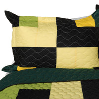 Lucky Break 3PC Vermicelli-Quilted Patchwork Quilt Set (Full/Queen Size) - My Bed Covers - 2