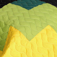 Lucky Break 3PC Vermicelli-Quilted Patchwork Quilt Set (Full/Queen Size) - My Bed Covers - 4