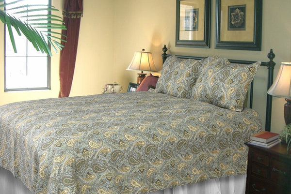 Lush Green Ferns 100% Cotton 3PC Classic Floral Vermicelli-Quilted Quilt Set (King Size) - My Bed Covers - 1