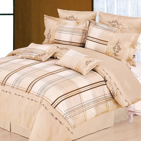 Madison 7 Piece Duvet Cover Set Beige (Queen Size) - My Bed Covers