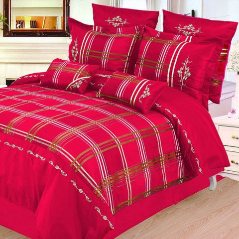 Madison 7 Piece Duvet Cover Set Burgundy (Queen Size) - My Bed Covers