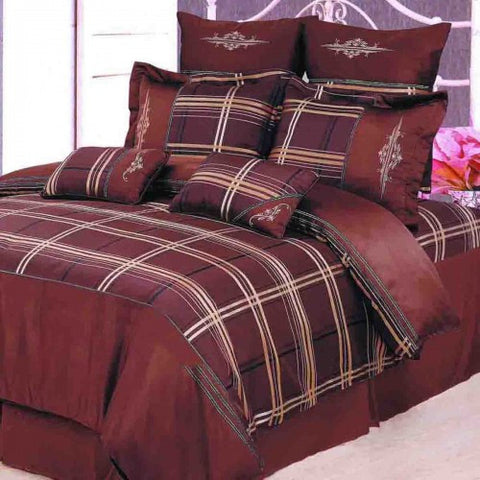 Madison 7 Piece Duvet Cover Set Chocolate (Queen Size) - My Bed Covers