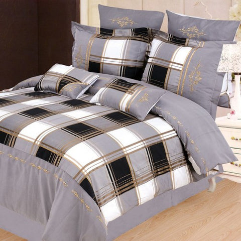 Madison 7 Piece Duvet Cover Set Grey (Queen Size)