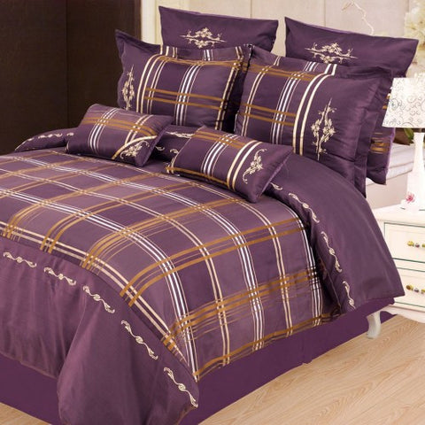 Madison 7 Piece Duvet Cover Set Purple (Queen Size) - My Bed Covers