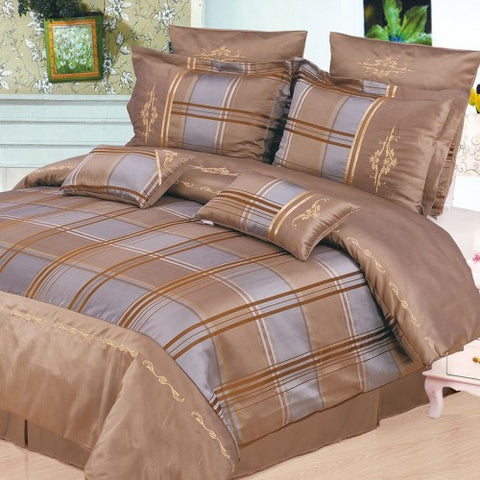 Madison 7 Piece Duvet Cover Set Taupe (Queen Size) - My Bed Covers